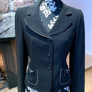 Vintage Tahari Pinstriped Bow Pocket Jacket